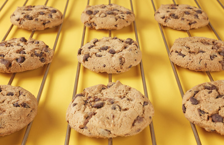 doughy: closeup of chocolate biscuit cookies on rack Stock Photo
