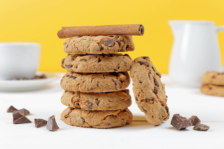 closeup cookies biscuit composition on wood background photo