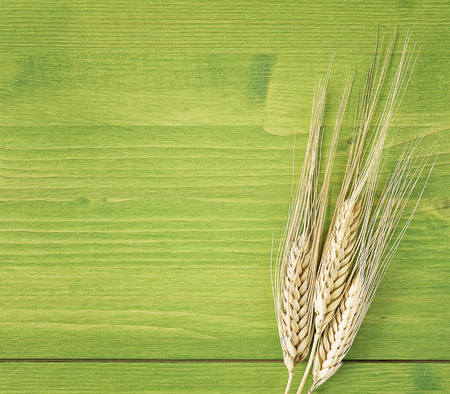 close up ear of corn on wooden table photo
