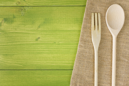top view kitchen table wooden spoon fork