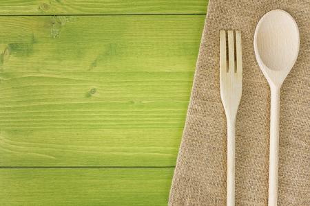 top view kitchen table wooden spoon fork Stok Fotoğraf - 28493164