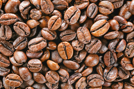 enlargement: close up top view coffee beans macro Stock Photo