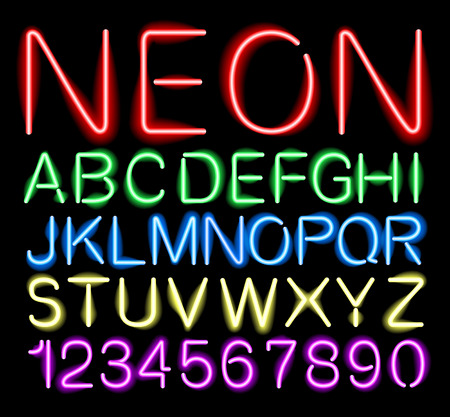 alphabetical order: font neon alphabet numbers