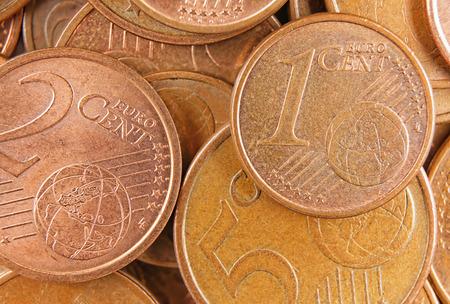top view euro penny money macro detail