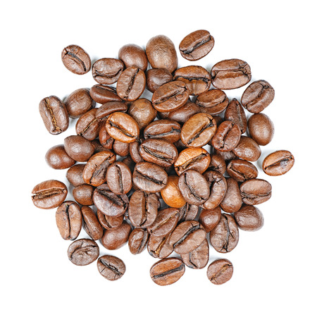 Coffee beans top view isolated on white background