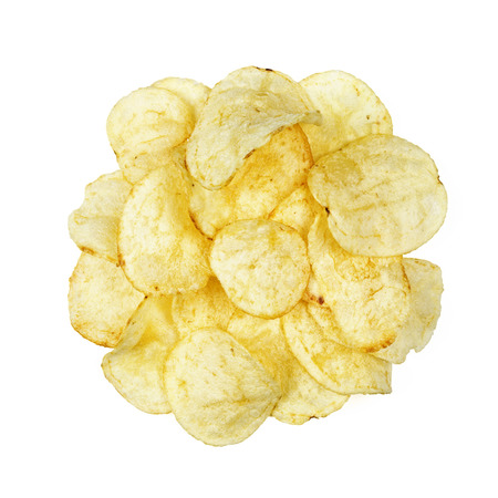 potato chips top view isolated on white background Stok Fotoğraf