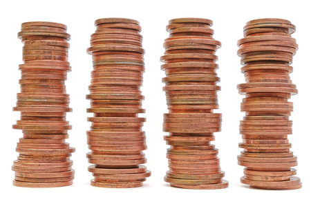 Pile of coins isolated on white background Stok Fotoğraf