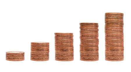 Pile of coins chart isolated on white background