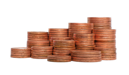 coins pile: Coins pile group isolated on white background Stock Photo