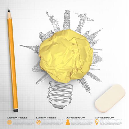 Concept idea sketch of famous monument in vector format Çizim