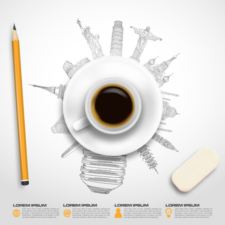 Concept coffee idea sketch of famous monument in vector format