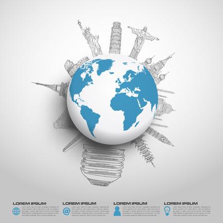 mapa mundi: Concepto idea mundo boceto de monumento famoso en formato vectorial