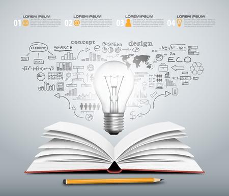 コンセプト デザイン - 電球ビジネス オープン ブック スケッチ ベクトル形式で