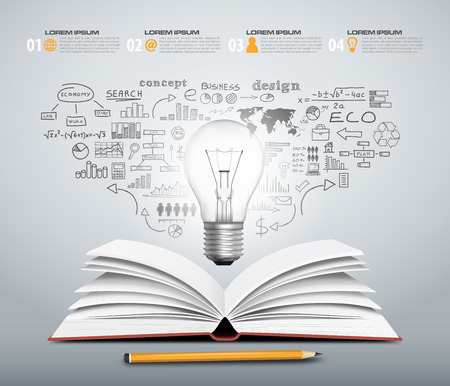 Concept design - book open with bulb business sketch in vector format