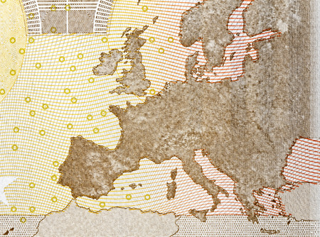 fifty euro banknote: Close up of map europe on back of fifty euro banknote Stock Photo