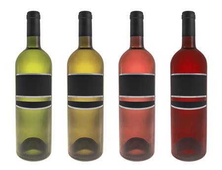 Set wine bottle photo isolated on white background