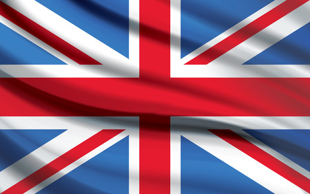 Union Jack Flag waving photorealistic in vector format Çizim