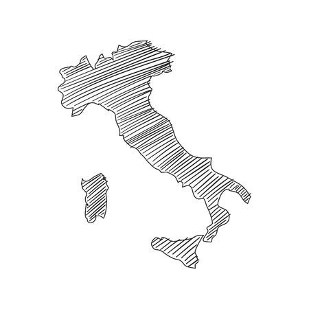 Italy map sketch in vector format