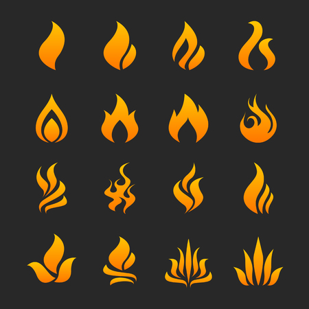 Fire flame icon set in vector format