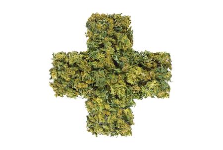medical marijuana cross symbol isolated on white background