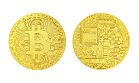 Bitcoin money front back isolated on white background