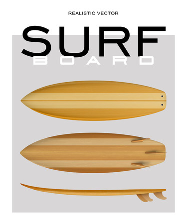 Realisric surf board Wood front back side view in vector format
