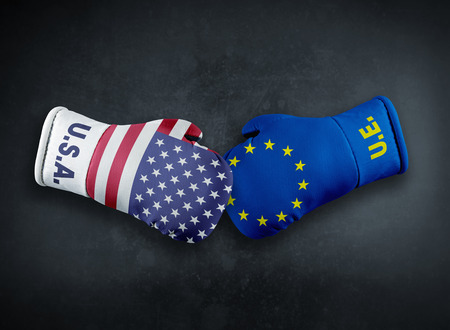 Boxing gloves with European Union and USA flag conflict conpet Stok Fotoğraf - 106960251