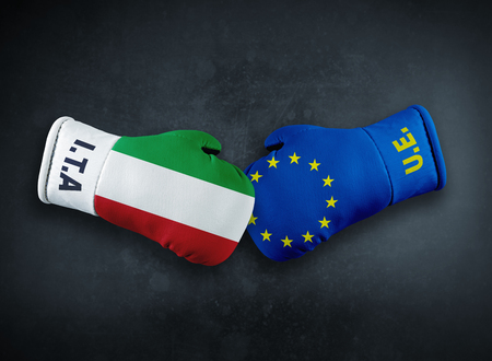Boxing gloves with European Union and Italy conflict brexit conpet