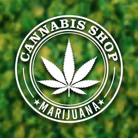 Cannabis Marijuana leaf circle logo design in vector format