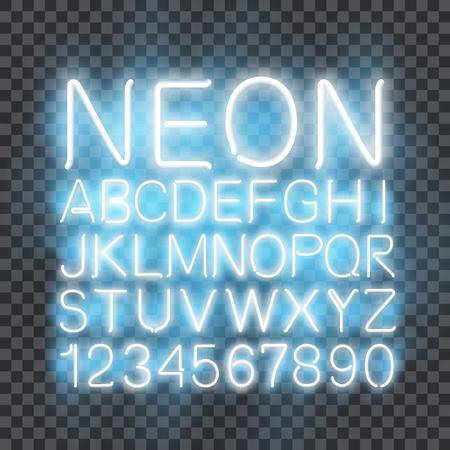 Font neon light, alphabet letter numbers, in vector format Stok Fotoğraf - 106960255