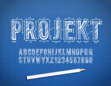 Blue Print sketch font in vector format Stok Fotoğraf - 109267464