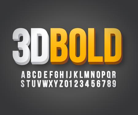 Modern 3d bold font in vector format Çizim