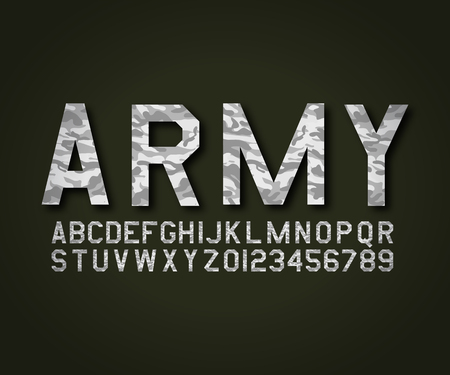 Font military army camouflage in vector format Çizim