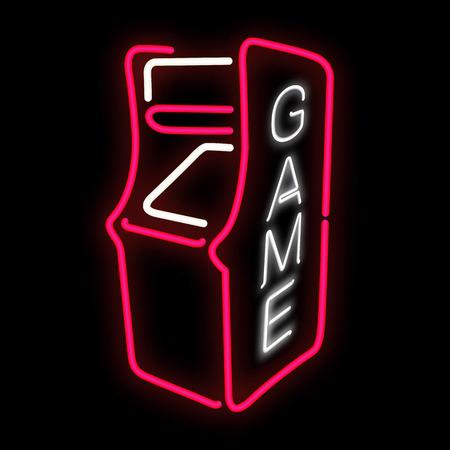 Arcade game cabinet neon effect in vector format