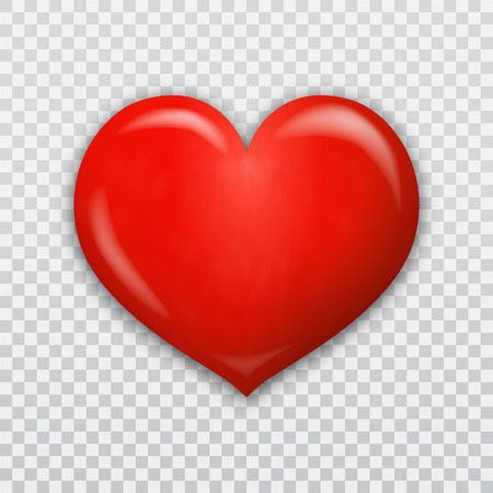 Red heart 3d isolated on transparent background in vector format Stok Fotoğraf - 120025250