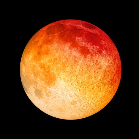 Red Moon closeup on black background Stok Fotoğraf