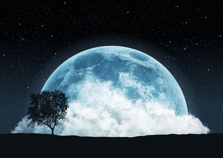 Moon romantic landscape surreal 3d illustration Banco de Imagens