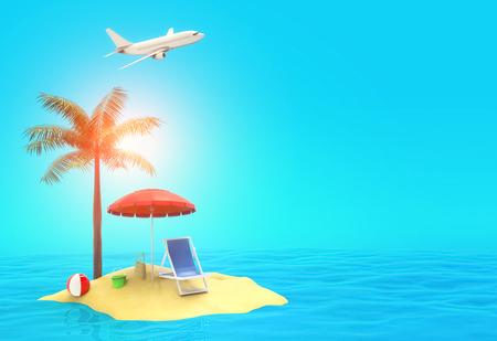 Summer vacation travel concept - Paradise island 3d illustration Stok Fotoğraf - 120025260