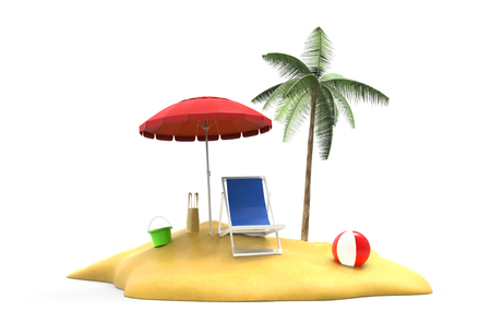 tropical island isolated 3d illustration Stok Fotoğraf - 120025259