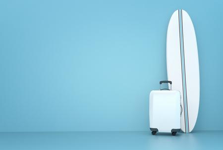 Surfboard travel concept 3d illustration Stok Fotoğraf - 120025262