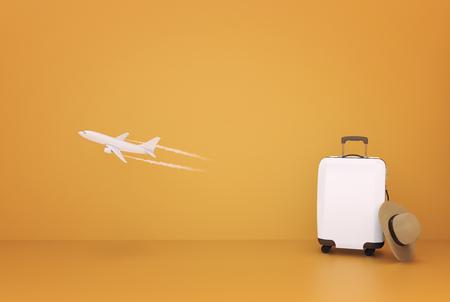 Travel Airplane suitcase concept on orange background 3d illustration Stok Fotoğraf