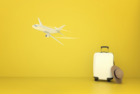 Travel Airplane suitcase concept on yellov background 3d illustration