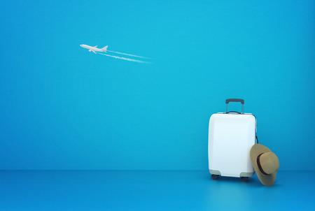 Travel suitcase on blue background summer concept 3d illustration Stok Fotoğraf