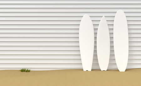 Surfboards resting on a wooden fence on a sand bottom 3d illustration Stok Fotoğraf - 120025268