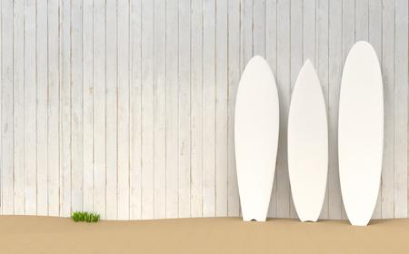 Surfboards resting on a wooden fence on a sand bottom 3d illustration Stok Fotoğraf - 120025283