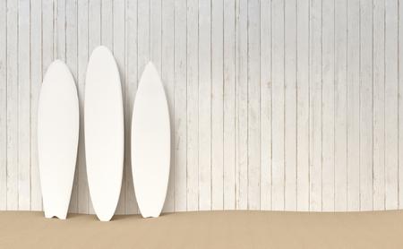 Surfboards resting on a wooden fence on a sand bottom 3d illustration Stok Fotoğraf
