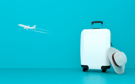 Travel suitcase on blue background summer concept 3d illustration Stok Fotoğraf - 120025285