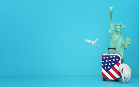 Concept travel America USA , Statue of liberty, baggage, cowboy hat and airplane - illustration 3d