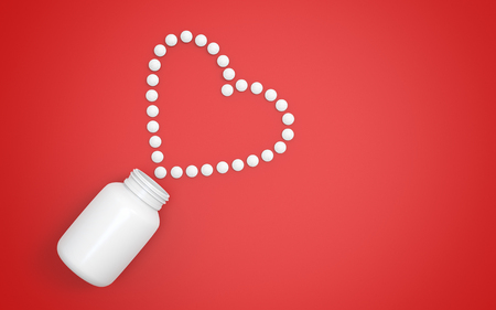 Heart shape created from pills - 3d illustration
