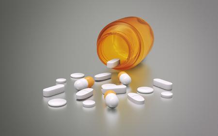 Medicine bottle pills, tablets and capsules - 3d illustration Stok Fotoğraf